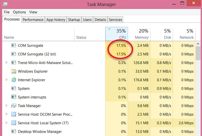 com surrogate task manager cpu
